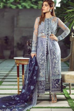 Heavy Hand Work Lavender Color Heavy Butterfly Net Pakistani Salwar Suit