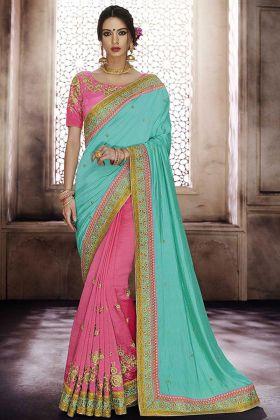 Heavy Handloom Silk Wedding Saree Pink Color