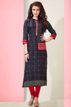 Heavy Indo Cotton Designer Straight Kurti Navy Blue