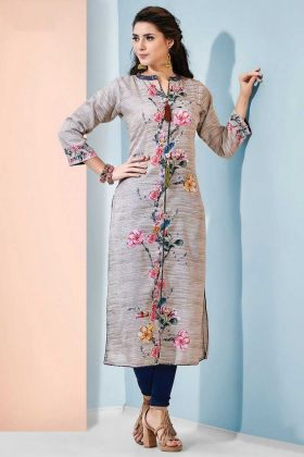 Heavy Indo Cotton Party Wear Kurti Light Grey Color