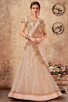 Heavy Look Party Wear Designer Lehenga Saree Net Pink Color