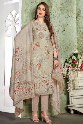 Heavy Muslin Beige Pant Style Salwar Suit