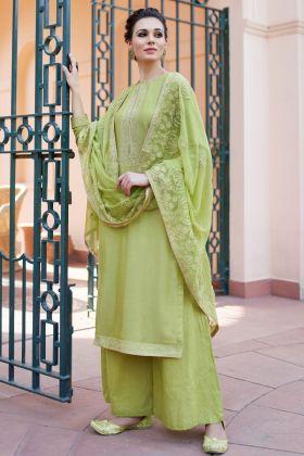 Heavy Muslin Pista Palazzo Salwar Suit