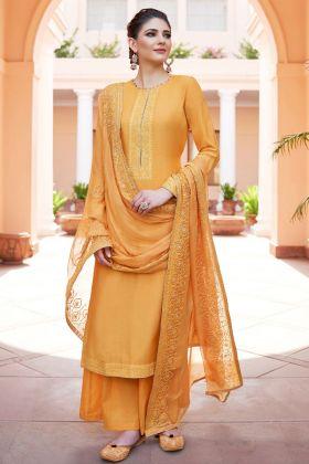 Heavy Muslin Yellow Palazzo Salwar Kameez