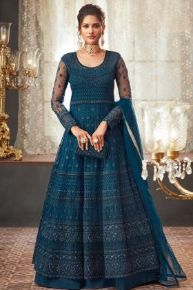 Heavy Net Anarkali Salwar Suit In Steel Blue Color