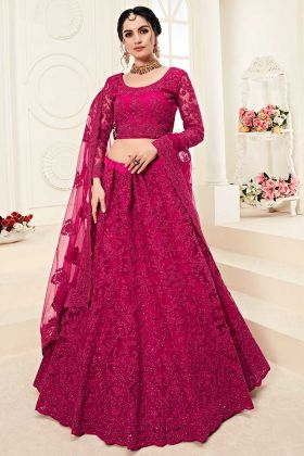 Heavy Net And Silk Rani Pink Lehenga For Bridal
