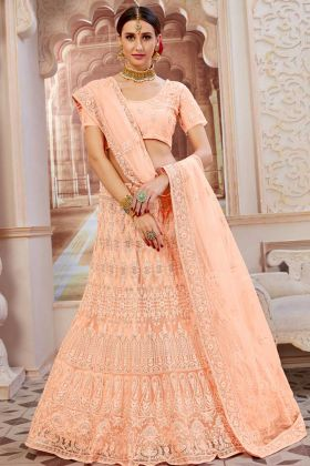 Heavy Net Designer Lehenga Choli Peach Color