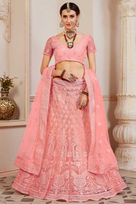 Heavy Net Designer Lehenga Choli Pink Color