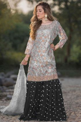 Heavy Net Grey Color Sharara Dress In Heavy Embroidered Work