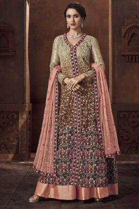 Heavy Net Indo Western Salwar Suit In Multi Color