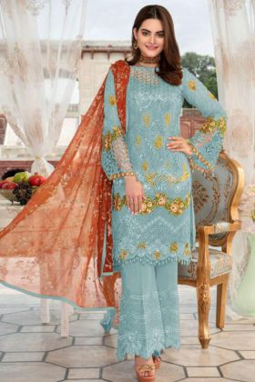 Heavy Net Pakistani Dress Embroidery Work In Light Blue Color