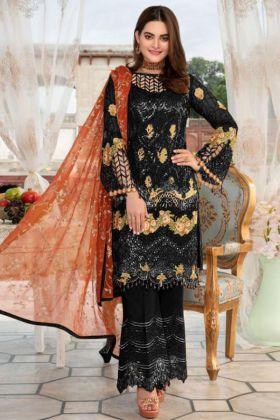 Heavy Net Pakistani Salwar Kameez Embroidery Work In Black Color