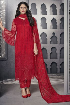Heavy Net Red Pant Style Salwar Suit