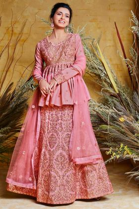 Heavy Net With Pure Silk Indo Western Dress Pink Color With Stone Work
