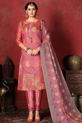 Heavy Party Wear Banarasi Silk Dress Pink Color