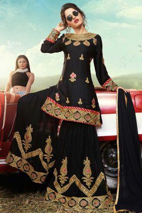 Heavy Party Wear Designer Sharara Dress Satin Black Color