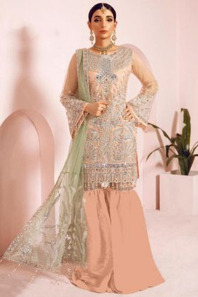 Heavy Peach Net Pakistani Eid Dresses Collection
