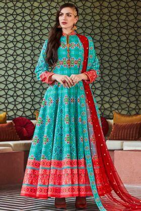 Heavy Pure Silk Anarkali Salwar Kameez Hand Work In Sky Blue Color
