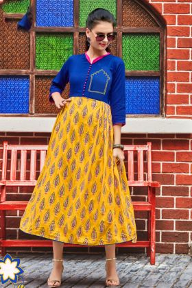 Heavy Rayon Anarkali Flared Kurti Blue and Yellow Color Embroidery Work
