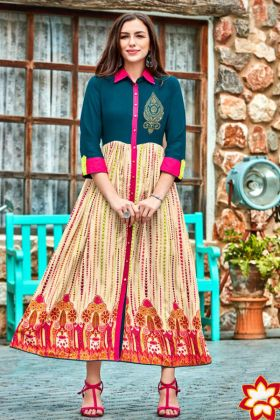 Heavy Rayon Anarkali Flared Kurti Embroidery In Multi Color