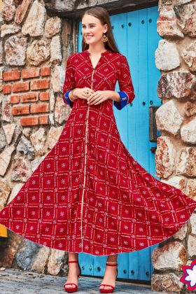 Heavy Rayon Anarkali Style Kurti Embroidery Maroon Color