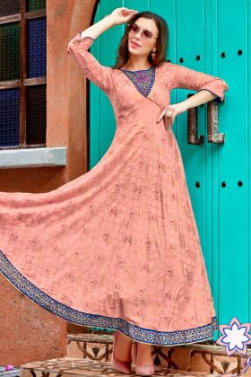 Heavy Rayon Anarkali Style Kurti Embroidery Peach Color