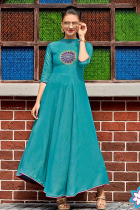 Heavy Rayon Anarkali Style Kurti Turquoise Color With Embroidery Work