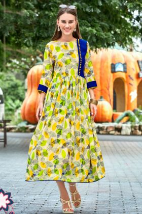 Heavy Rayon Anarkali Style Muti Color With Embroidery Work