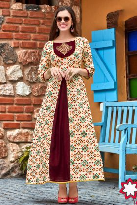 Heavy Rayon Designer Anarkali Kurti Embroidery Cream and Maroon Color