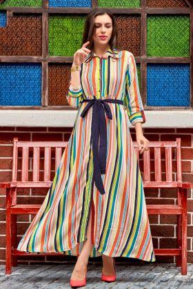 Heavy Rayon Designer Anarkali Kurti Embroidery In Multi Color