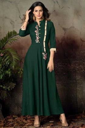 Heavy Rayon Designer Kurti Embroidery Work In Green Color