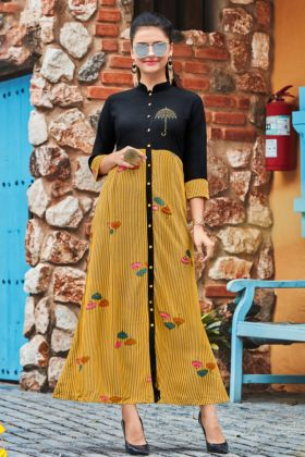 Heavy Rayon Flared Anarkali Kurti Black and Yellow Color With Embroidery Work