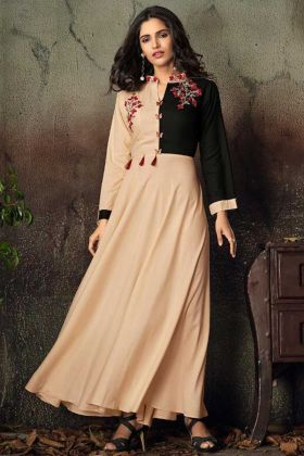 Heavy Rayon Party Wear Kurti Embroidery Work In Cream Color