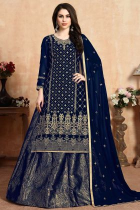 Heavy Salwar Suit Blue Color Georgette Fabric With Dupatta
