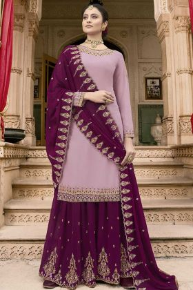 Heavy Salwar Suit Lilac Georgette Fabric For Women