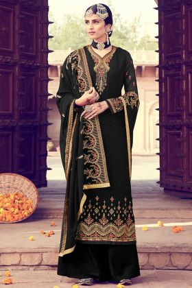 Heavy Santoon Palazzo With Georgette Black Dress