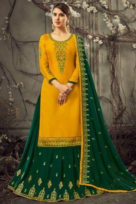 Heavy Satin Georgette Yellow Indo Western Salwar Suit