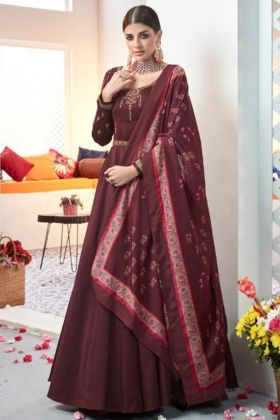Heavy Satin Taffeta Anarkali Dress In Maroon Color