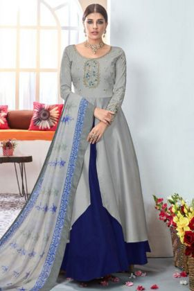 Heavy Satin Taffeta Anarkali Salwar Kameez In Grey Color