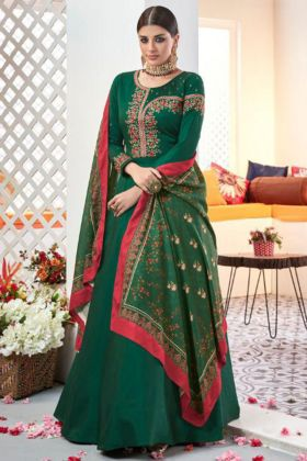 Heavy Satin Taffeta Anarkali Salwar Suit Green Color Heavy Muslin Dupatta