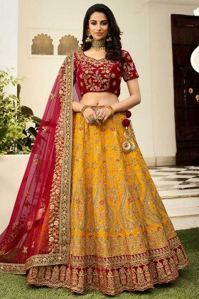 Heavy Silk Yellow Embroidered Wedding Lehenga Choli