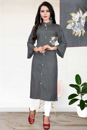 Heavy Slub Rayon Long Kurtis Dark Grey Color In Handwork