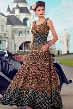 Heavy Soft Banglori Silk Designer Reception Gown Navy Blue Color