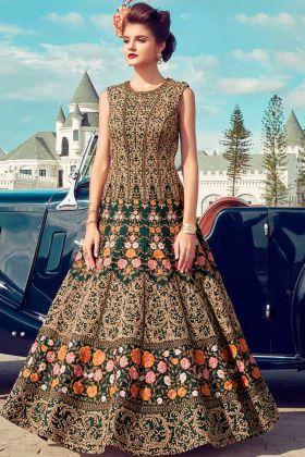 Heavy Soft Banglori Silk Yellow Designer Wedding Gown With Hand Work