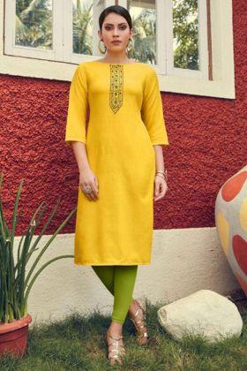 Heavy Soft Cotton Slub Embroidery Kurti In Yellow Color