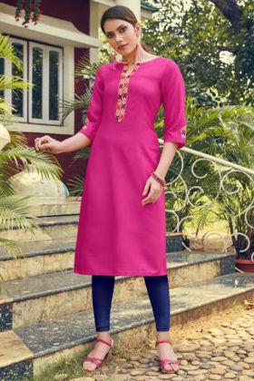 Heavy Soft Cotton Slub Kurti Pink Color With Embroidery Work
