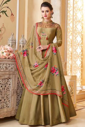 Heavy Soft Silk Gown Style Anakali Dress Is Dark Gold Color