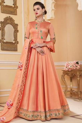 Heavy Soft Silk Gown Style Anarkali Salwar Kameez In Peach Color