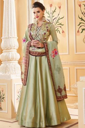 Heavy Soft Silk Mehendi Color Gown Style Anarkali Salwar Suit