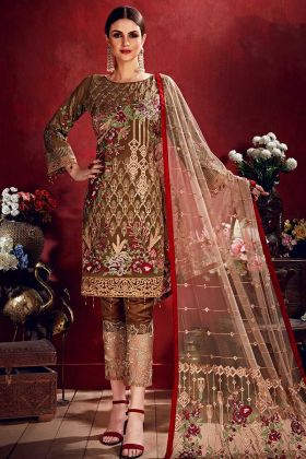 Heavy Thread Embroidery Work Brown Color Georgette Pakistani Salwar Kameez